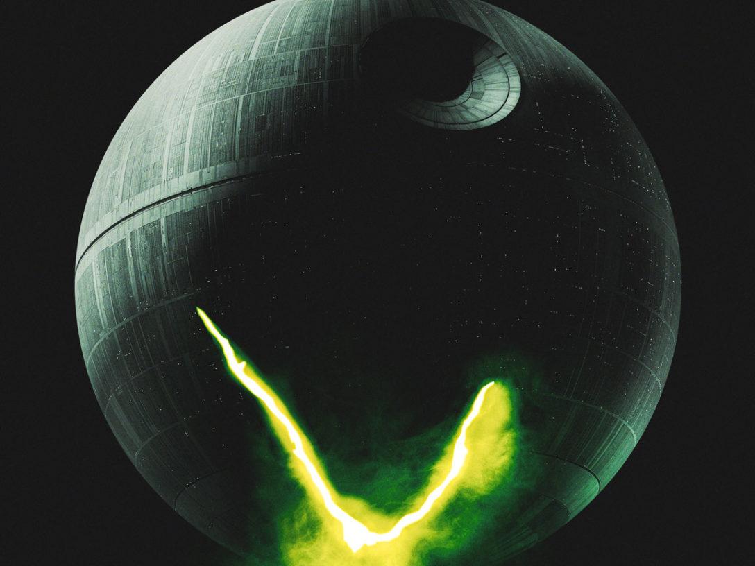 LEGO Star Wars Terrifying Tales poster, an homage to Alien, replacing the egg with the Death Star.
