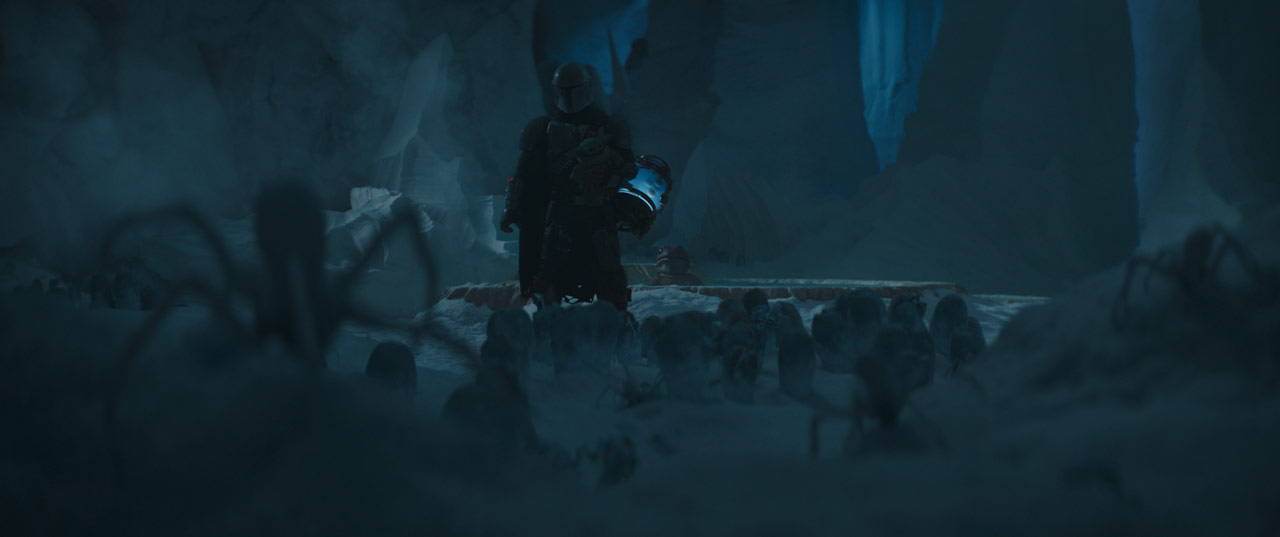 The Mandalorian surrounded by ice spiders