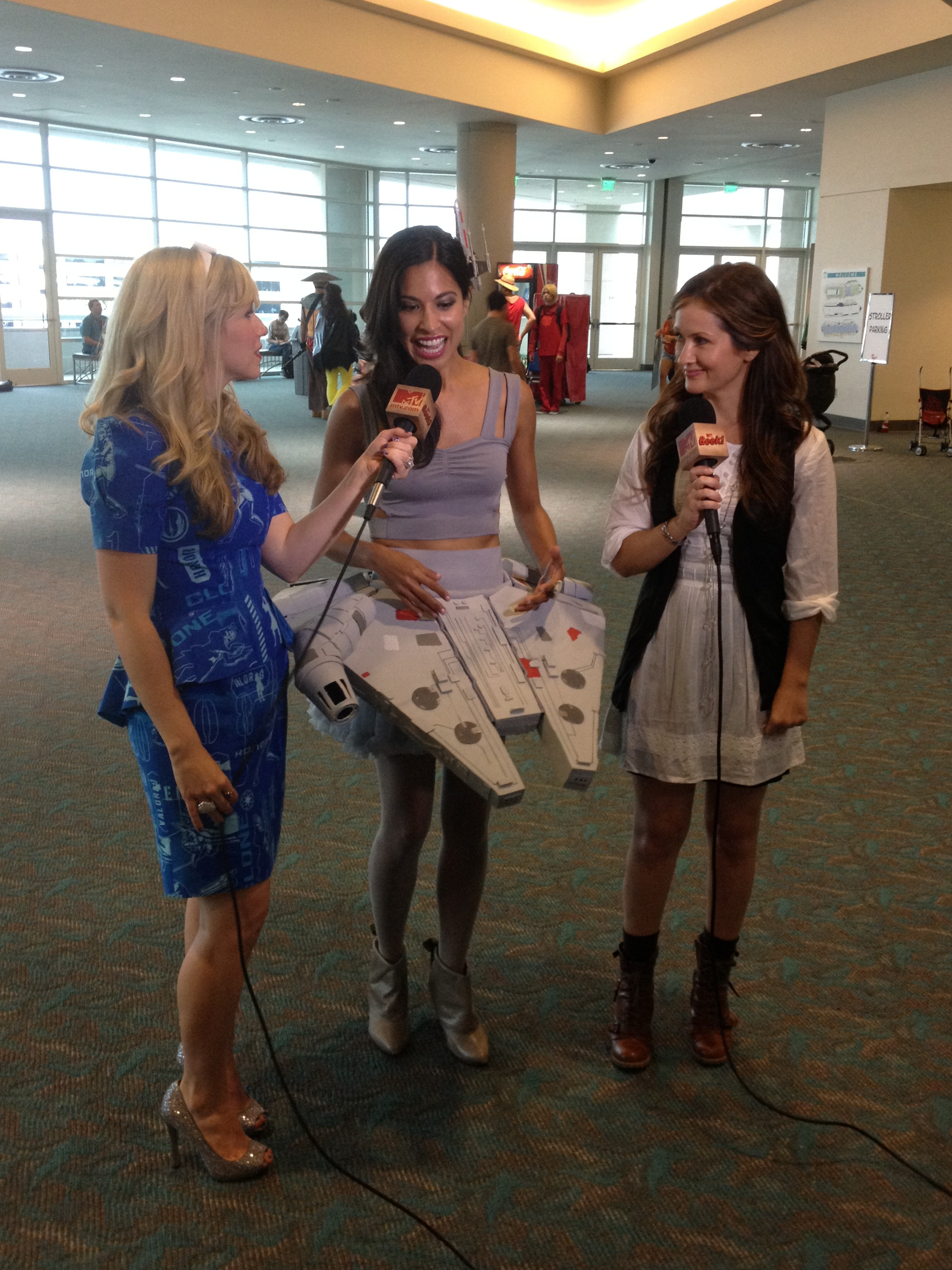 Me and Cat interview our winner, Jennifer, in her Millennium Falcon dress for MTV Geek!