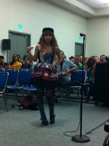 This fangirl wore a custom Spiderman dress with some very cool spider web tights!