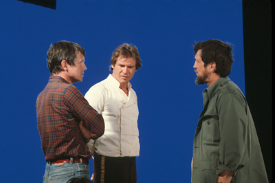 Director Richard Marquand, Harrison Ford, visual effects supervisor Richard Edlund