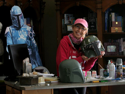 Sandy Dhuyvetter with her helmet for the As You Wish Project.