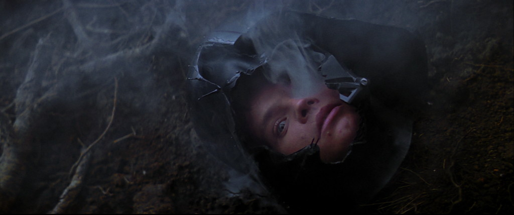 Luke in Darth Vader helmet in The Empire Strikes Back