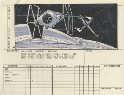 Traditional postproduction storyboard by Johnston, showing basic action, listing elements needed to create shot, for Return of the Jedi. Sometimes frame counts would also be listed and other info.