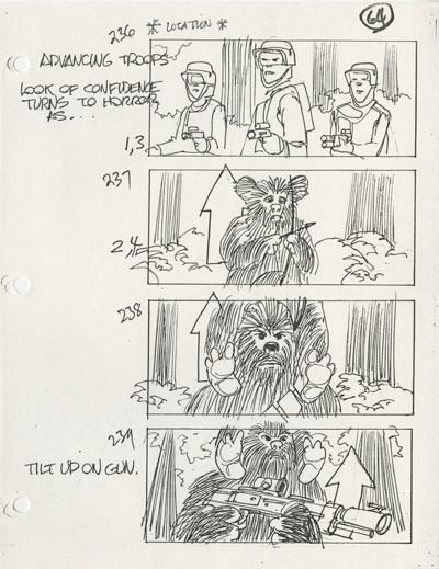 Concept board by Johnston of an Ewok battle gag that didn't make it to the final film.