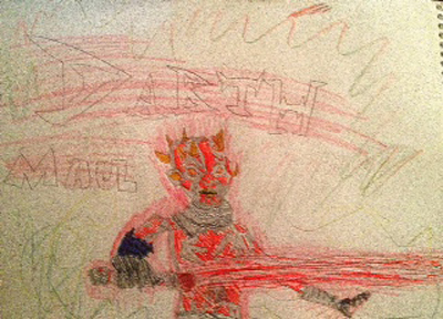 "Jasper Gilmore, age nine, was inspired by <i>Star Wars Insider</i> to draw Darth Maul with his ""mecha"" legs."