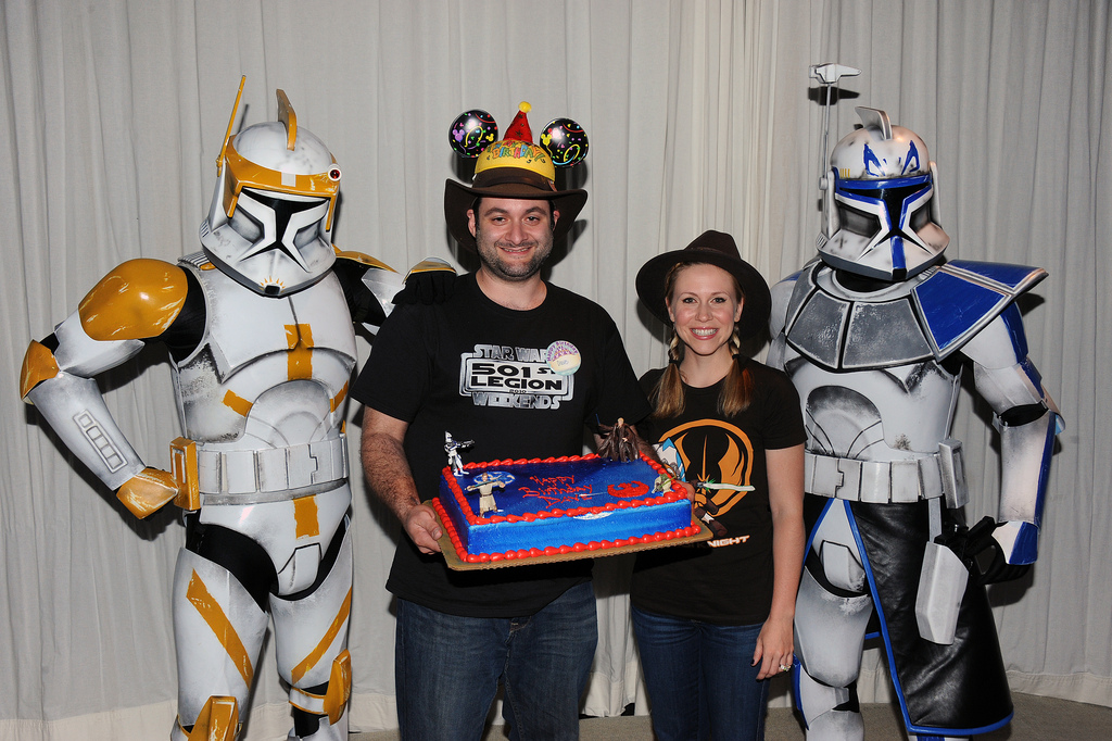 Dave came to Disney's Star Wars Weekends on his birthday and Captain Rex surprised him on stage with a cake! The entire audience sang Happy Birthday to him!
