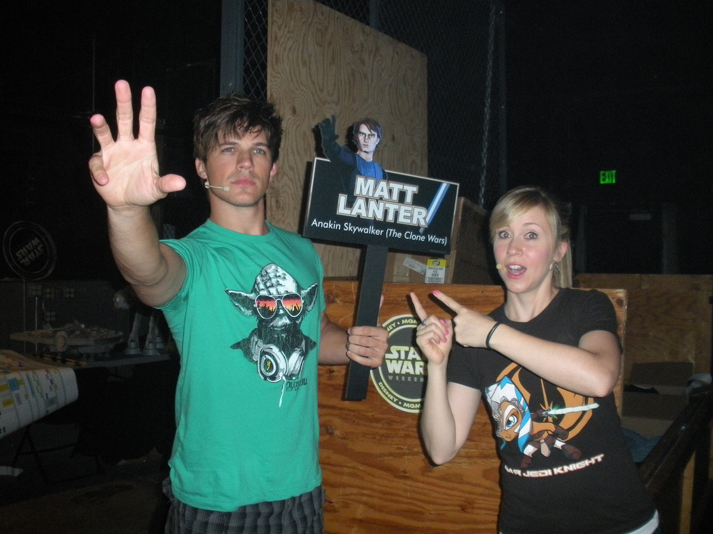 It's funny, Matt Lanter really thinks he has the Force and he like to walk around trying to use it...