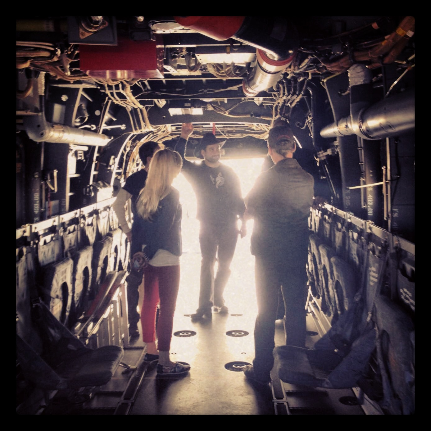 Inside an Osprey at MCAS Miramar on our USO Tour!