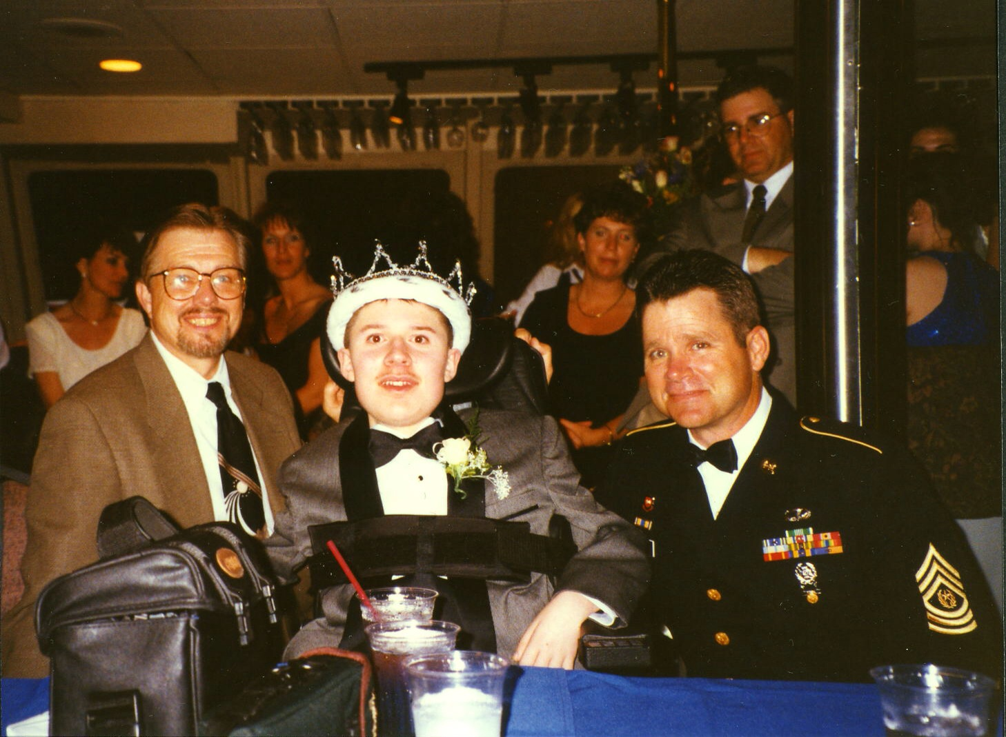 Crowned Prom King 1996 with Principal Peter McHugh (left) and Vice Principal Tom Crane.