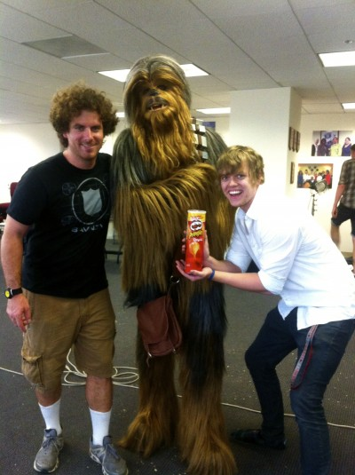 Luke Rocheleau, Frank the Wookiee, and Jordan Allen on set of A Wookiee Mistake.