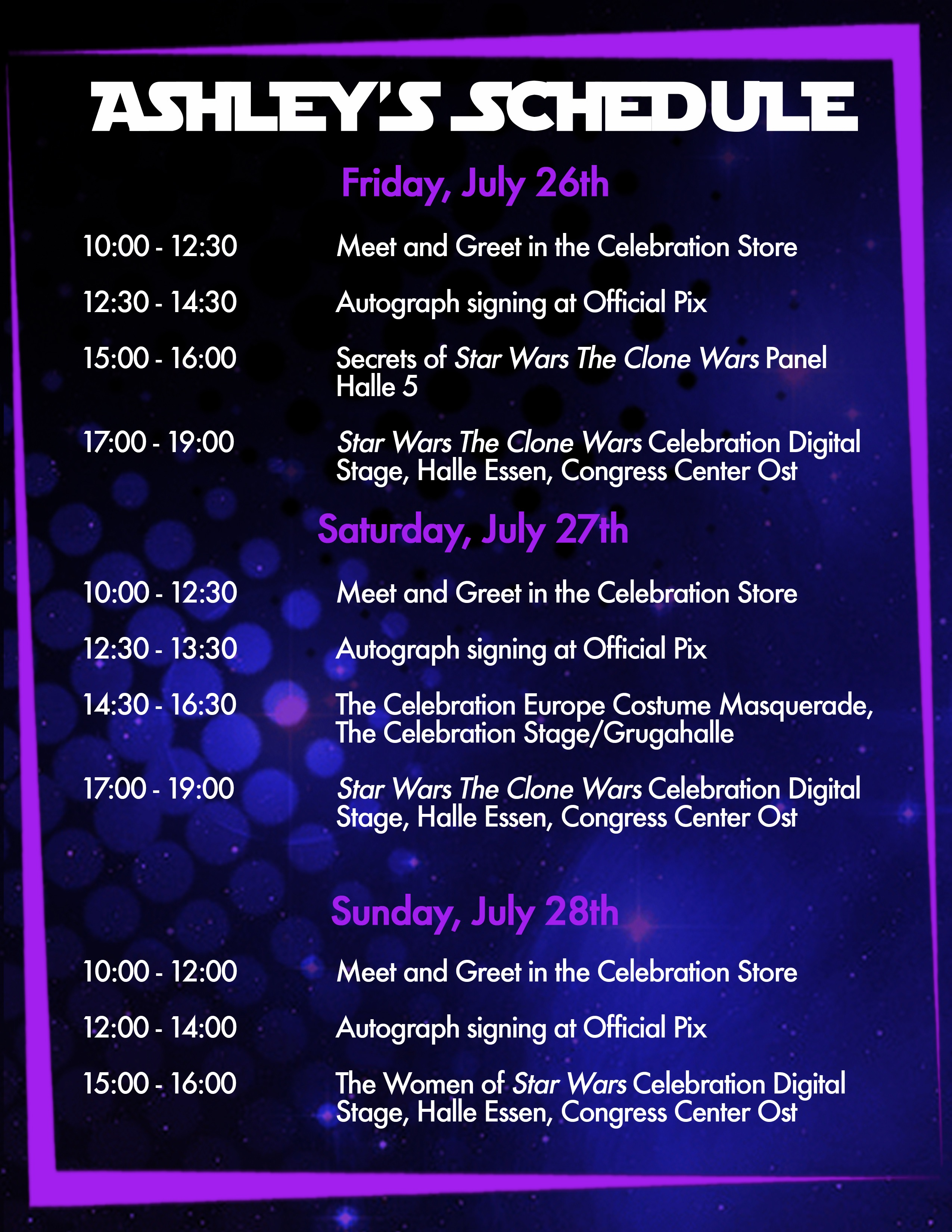 Ashley's Star Wars Celebration Schedule