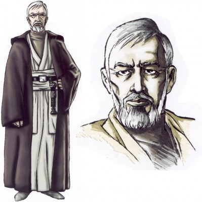 "Preliminary sketches of ""Old Ben"" for <em><i>Star Wars: Il Potere della Forza</i></em>."