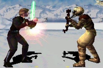Hoar (right), wearing a tusked mask, meets Luke Skywalker in mortal combat.