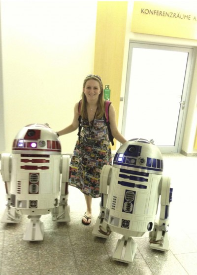 Emily Stevenson in a homemade Star Wars dress.