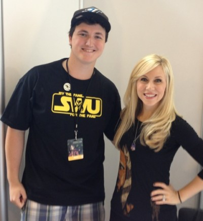 Dominic Jones with Ashley Eckstein.