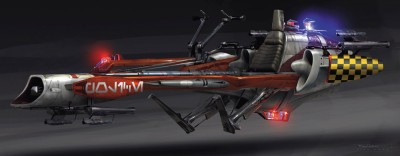 Coruscant underworld police speeder by Ryan Church. Concept art for Star Wars: 1313.