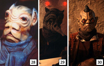 Solomahal and other cantina patrons in the Star Wars Holiday Special