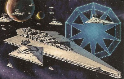 The sigil and fleet of the Pentastar Alignment, with the Super Star Destroyer Reaper front and center beside Grand Admiral Grant's Oriflamme