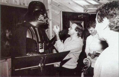 Meco tries to give Darth Vader a voice lesson during a recording session (Photo courtesy Meco via TheForce.net)