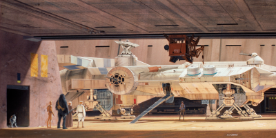 Millennium Falcon and Docking Bay 94 concept art by Ralph McQuarrie