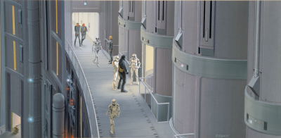 Death Star elevators concept art by Ralph McQuarrie