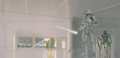 Stormtrooper (with lighstaber) concept art by Ralph McQuarrie