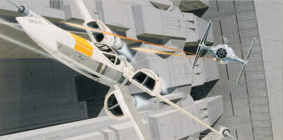 X-wing and TIE fighter dogfight concept art by Ralph McQuarrie