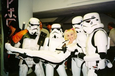 The 501st Stormtroopers with a Leia cosplayer