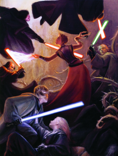 Abeloth fights the combined might of the Jedi and Sith Orders (illustration by Drew Baker)