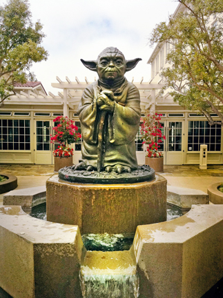 Lawrence Noble's bronze Yoda welcomes visitors to Lucasfilm headquarters at the Presidio (Photo By R. Sheridan)