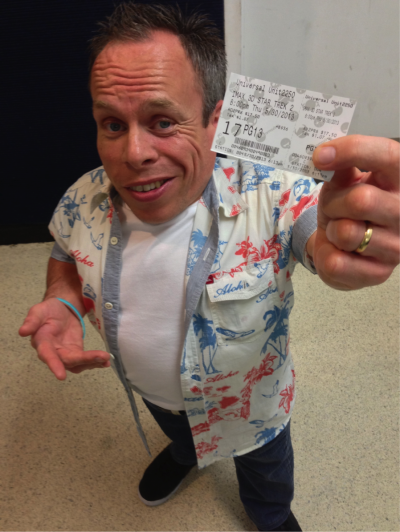 Warwick Davis with Star Trek Into Darkness ticket.