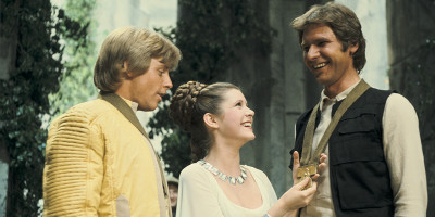 Han and Leia at the medal ceremony in A New Hope