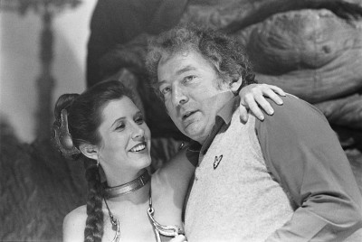 David Tomblin with Carrie Fisher on the set of Return of the Jedi