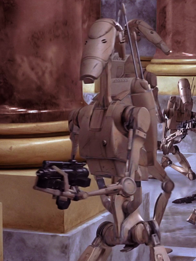 Battle droids on Naboo in The Phantom Menace