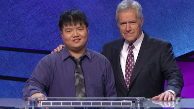 Jeopardy contestant Arthur Chu and host Alex Trebek. Photo courtesy Jeopardy Productions Inc.