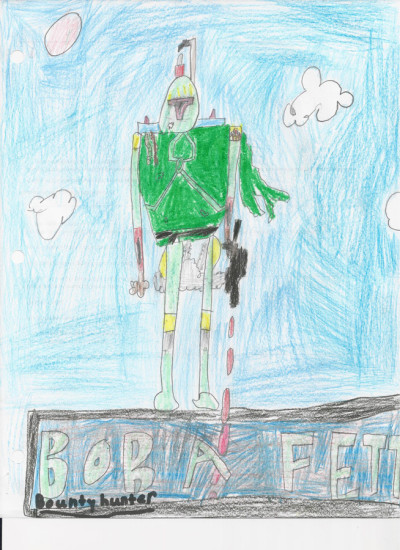 Boba Fett: Bounty Hunter. An original piece created by Noah Kiefer, age 7