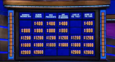 Jeopardy board featuring Guinness Records category