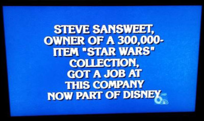 Steve Sansweet Star Wars answer on Jeopardy