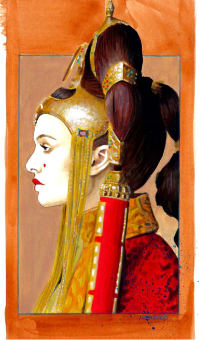 Queen Amidala - Star Wars fan art in Bantha Tracks: Art Galaxy. Original art by Sarah Wilkinson