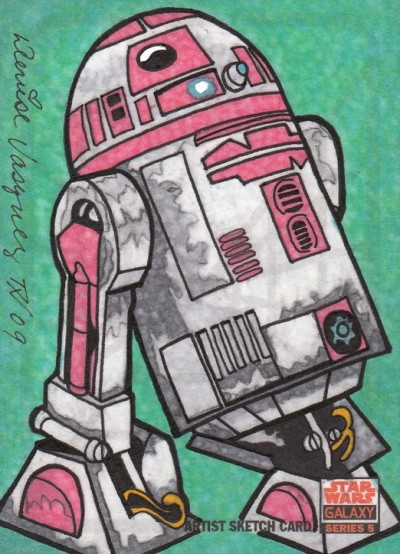 Denise Vasquez's R2-KT Topps Star Wars Galaxy V hand-painted return sketch card