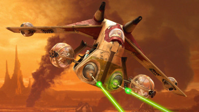 Clone trooper gunship on Geonosis