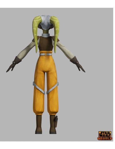 Star Wars Rebels' Hera costume diagram, back view