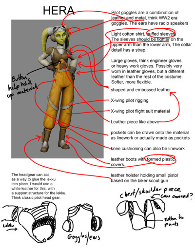 Star Wars Rebels' Hera costume diagram, front view
