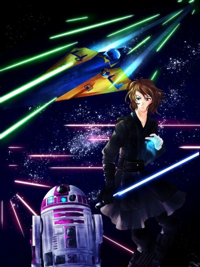 Black Holy by Aoibarax, featuring R2-KT and Anakin Skywalker