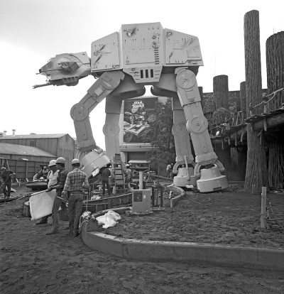 Star Tours' entrance, featuring a giant AT-AT