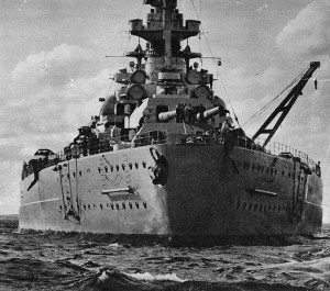 The Bismark battleship, close-up