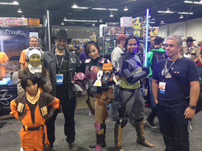 Dave Filoni and Kilian Plunkett with Star Wars Rebels costumers at WonderCon 2014