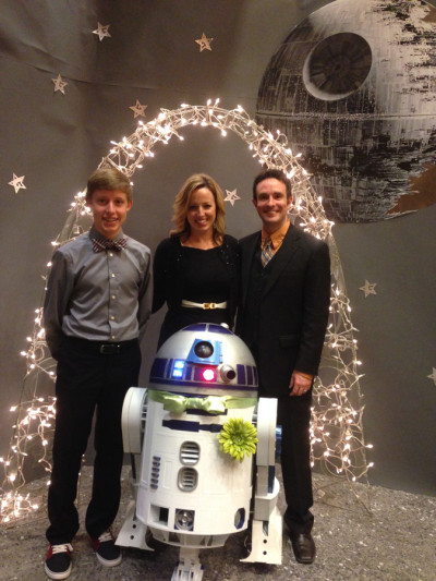Members of the Zehr family with Artoo-Detoo