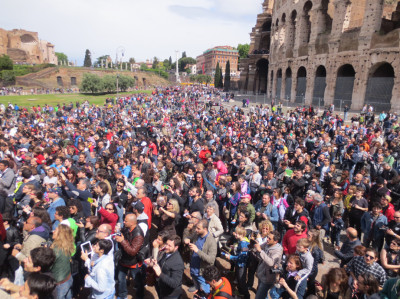 "The Day Itself. To kick off May the 4th in Rome, over 100 costumed fans paraded around the outside of the Coliseum, then worked their way up to the TIE fighter. A huge crowd pressed in, and when they started chanting ""Vader! Vader! Vader!"" I admit I teared up a bit."